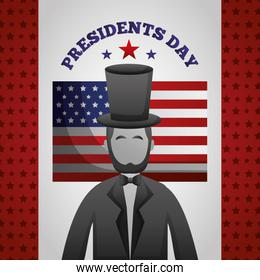 happy presidents day celebration poster with lincoln and flag