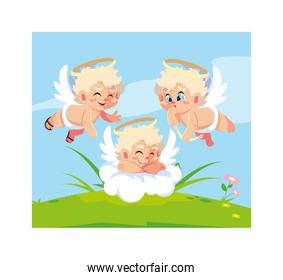 cute cupid angels in different poses, valentines day