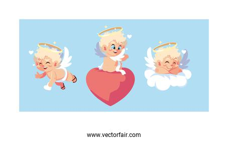 set of cute cupid angels in different poses, valentines day