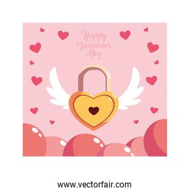 valentines day label with heart shaped padlock