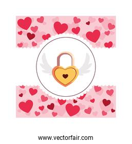 heart shaped security padlock with wings, valentines day