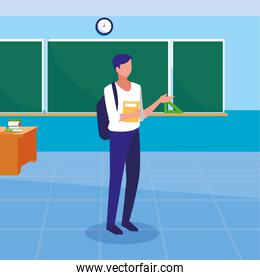 Boy student inside school classroom vector design