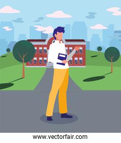 Boy student in front of school building vector design