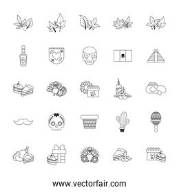 Isolated mexican icon set vector design