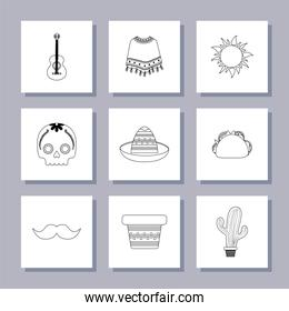 Isolated mexican icon set over grey background vector design