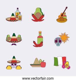 Isolated colorful mexican icon set vector design