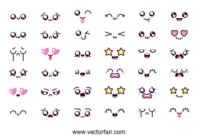 Isolated kawaii cartoon face icon set vector design