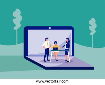 Group of businesspeople inside laptop vector design