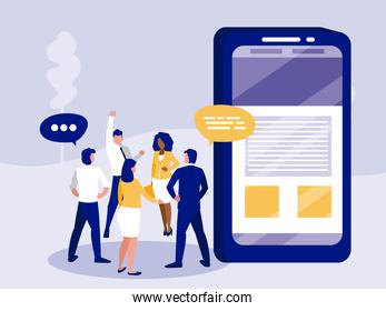 Group of businesspeople and smartphone vector design