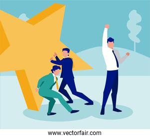 Isolated corporate businessmen and star vector design