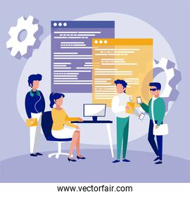 Group of businesspeople and website vector design