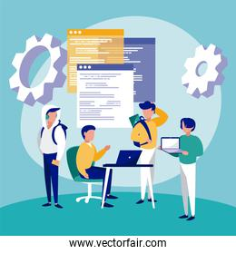 Isolated corporate businessmen gears and website vector design