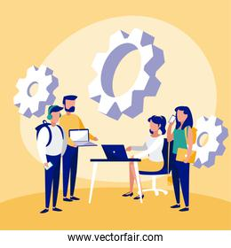 Group of businesspeople with desk and laptop vector design