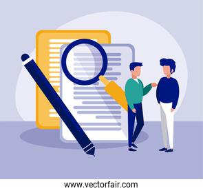 Isolated corporate businessmen and document vector design