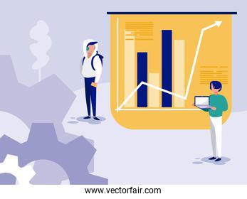 Isolated corporate businessmen and infographic vector design