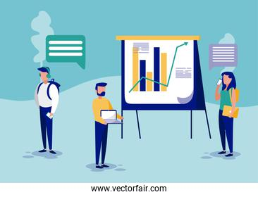 Group of businesspeople and infographic vector design