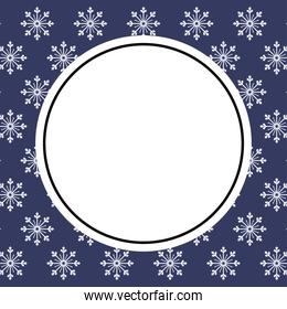 Blue and white snowflakes background of winter season vector design