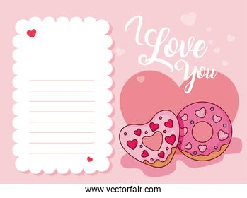 Donuts and note of valentines day vector design
