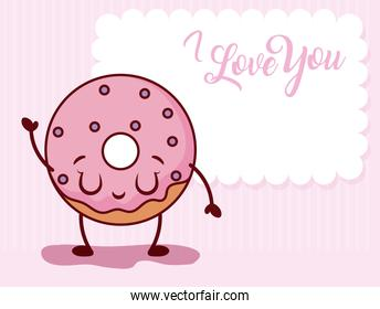 Donut and note of valentines day vector design
