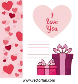 Gifts of valentines day vector design