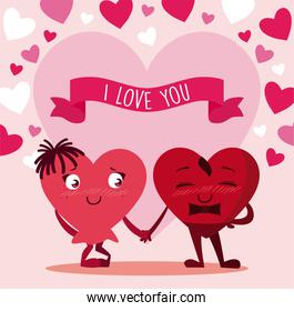 Female and male hearts cartoons couple of valentines day vector design