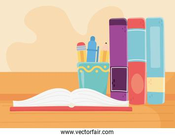 online education, open books and standing books stationery supplies