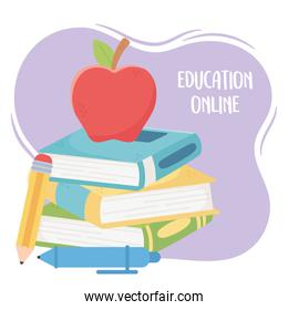 online education, apple on stacked book with pencil