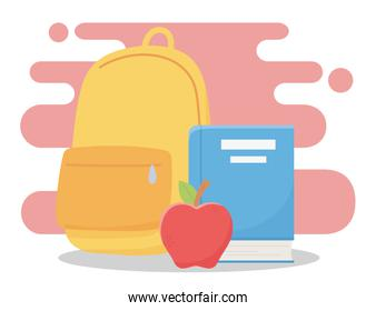 online education, backpack book and apple school