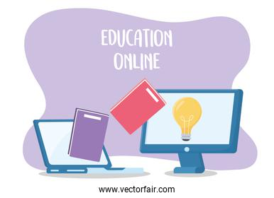 online education, laptop and computer trasnfer books creativity
