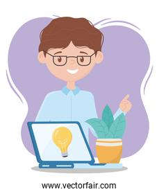 online education, teacher with laptop and plant creativity design