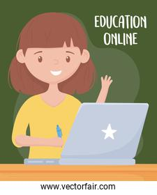 online education, female teacher with laptop and pen