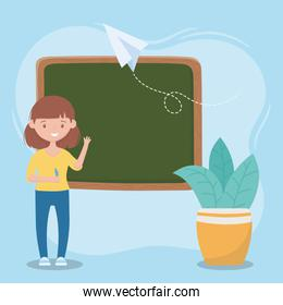 online education, teacher with pen chalkboard and plant