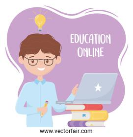 online education, teacher with pencil and laptop on books