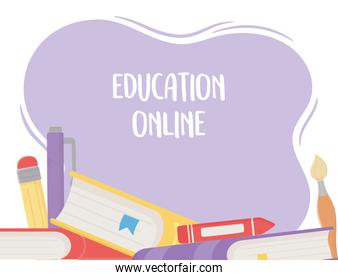 online education, books crayon pen pencil
