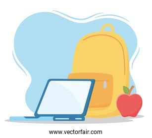 education online, backpack laptop and apple
