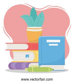online education, pen and plant on books school