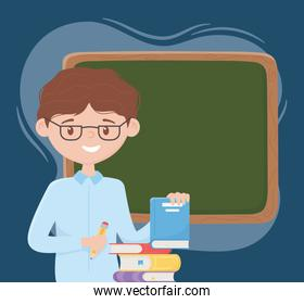 online education, teacher with pencil books and chalkboard