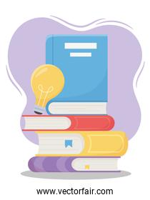 online education, pile of books with light bulb idea