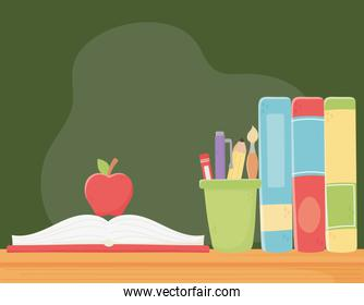 online education, apple on open book and books on desk