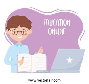 online education, teacher with notebook pencil and laptop