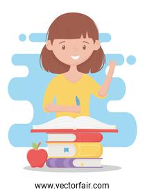online education, teacher with pencil pile of books and apple