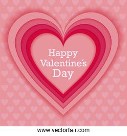 Pink heart of valentines day vector design