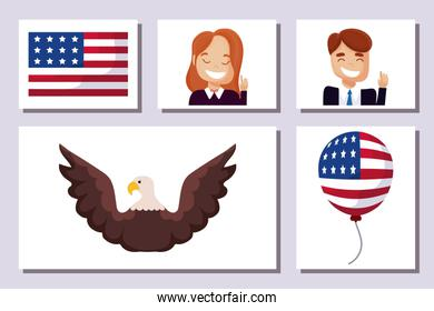 Icon set of usa happy presidents day vector design
