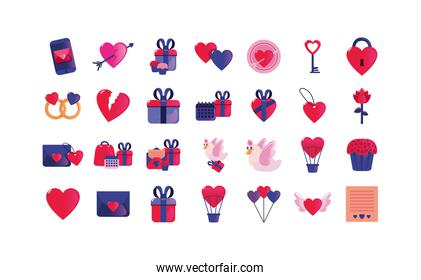 Love and happy valentines day icon set vector design