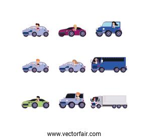Isolated people inside vehicles icon set vector design