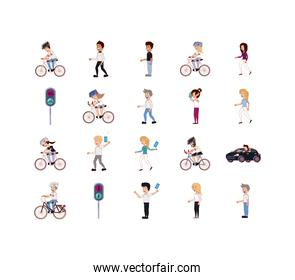 Isolated people and vehicles icon set vector design