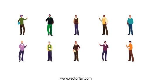Isolated men avatars vector design