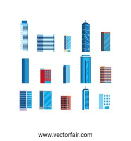 Isolated city buildings vector design