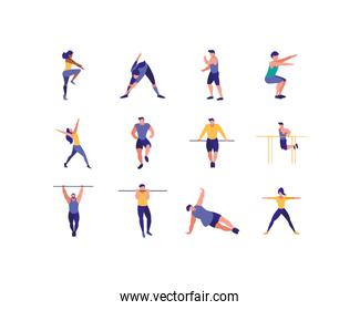 Isolated women and men doing sport vector design