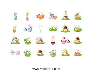 Happy easter icon set vector design